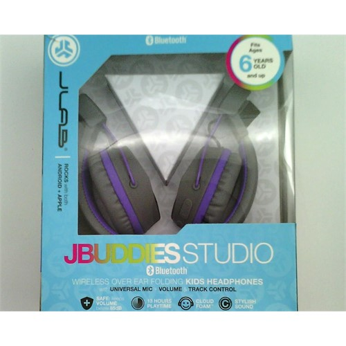 JLab Audio JBuddies Studio Bluetooth Wireless Folding Headphones - Gray/Purple - Kid Friendly 13 Hour Battery Life Bluetooth 4.1