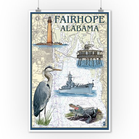Fairhope Alabama Nautical Chart Lantern Press Poster