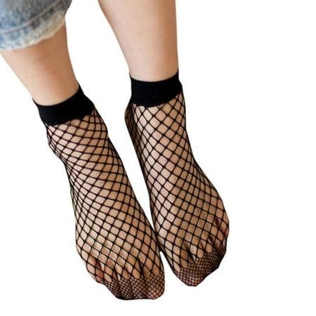 Womens Fishnet Ankle High Socks Mesh Lace Breathable Short