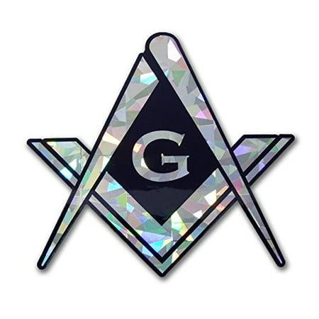 Masonic Square and Compasses Reflective Decal Sticker -
