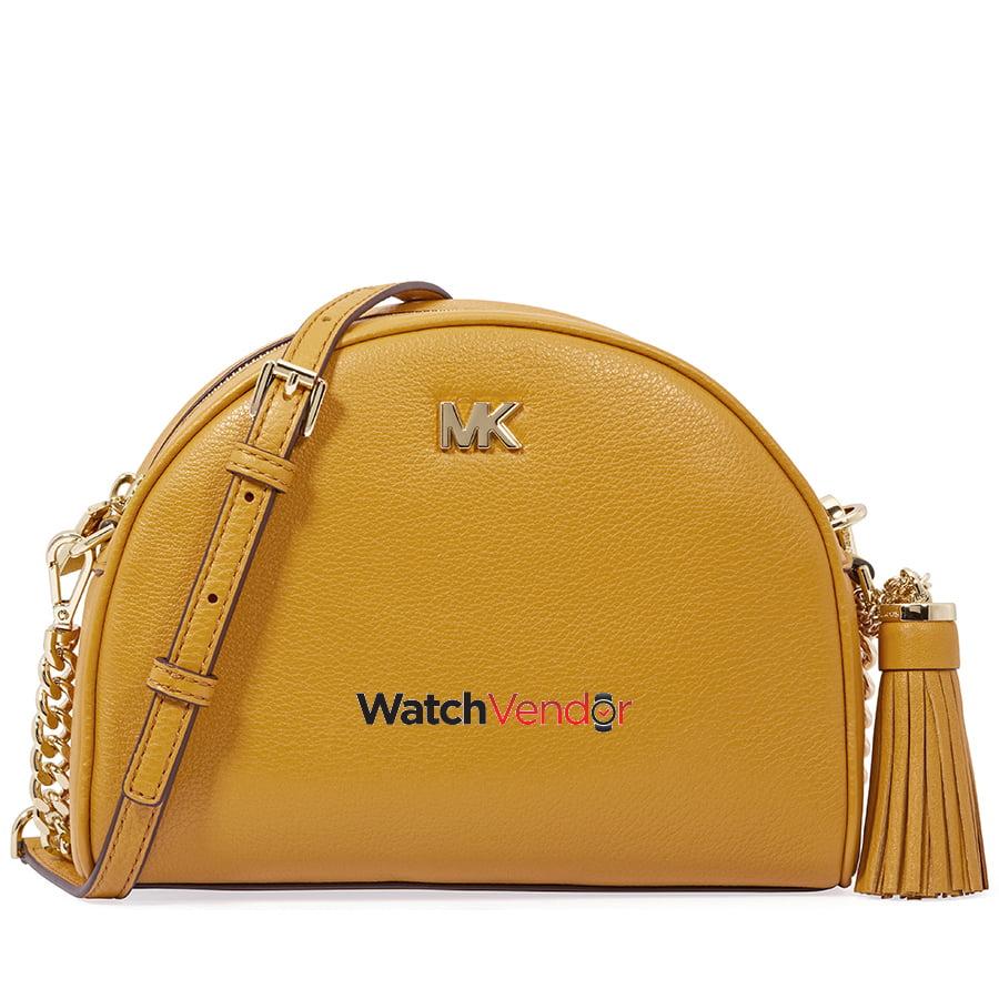 d49bc6b5e1e18e Michael Kors Ginny Pebbled Leather Half-Moon Crossbody Bag- Marigold |  Walmart Canada