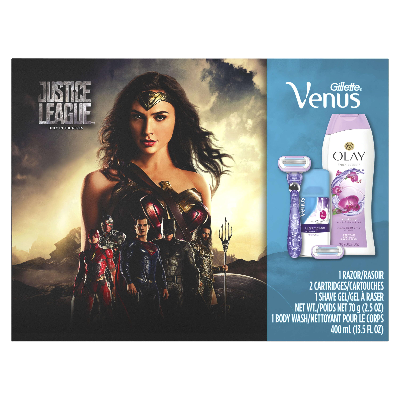 Gillette Venus Swirl Razor, Venus with Olay Shave Gel, Olay Body Wash Gift Set