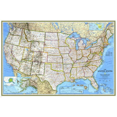 Large Relief And Political Map Of The United States Poster City 24X36 - Map Of Party City