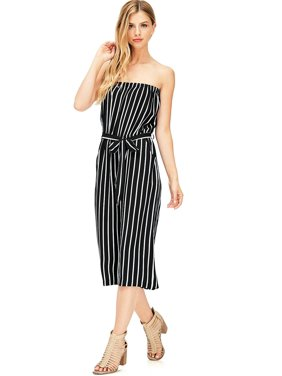96248401ae5 Product Image Ambiance Apparel Women s Juniors Striped Wide Leg Tube Top  Jumpsuit (S