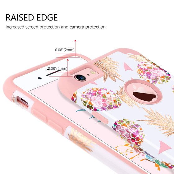 df89ff9886a0 iPhone 6S Case iPhone 6 Case Girls Women Pink Pineapple Slim Hybrid Hard PC  Cover Soft Silicone Glossy Shockproof Protective Anti-Slip Phone Cases  iPhone ...