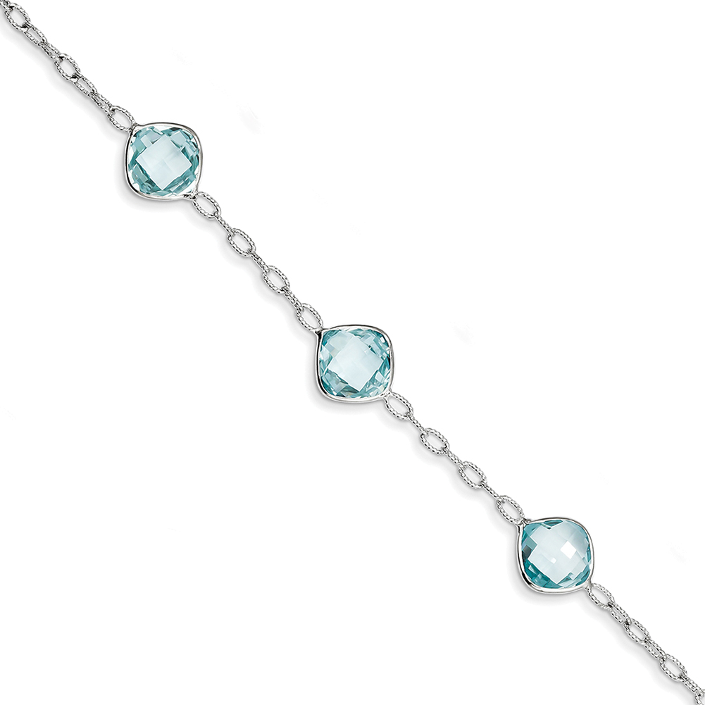 "Sterling Silver Blue Topaz Bracelet 7"" QX868BT by"