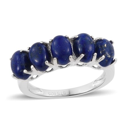 Womens 925 Sterling Silver Oval Lapis Lazuli Statement Ring for Women Jewelry Gift Size 7