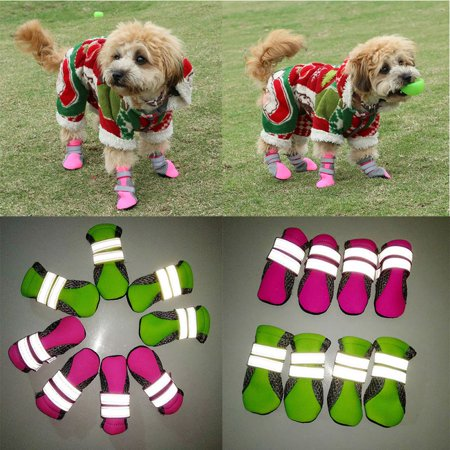 SUPERHOMUSE Pet Dog Shoes Breathable Leisure Walking Shoes Net Soft Non-slip Night Safe Reflective Boots for Large Small