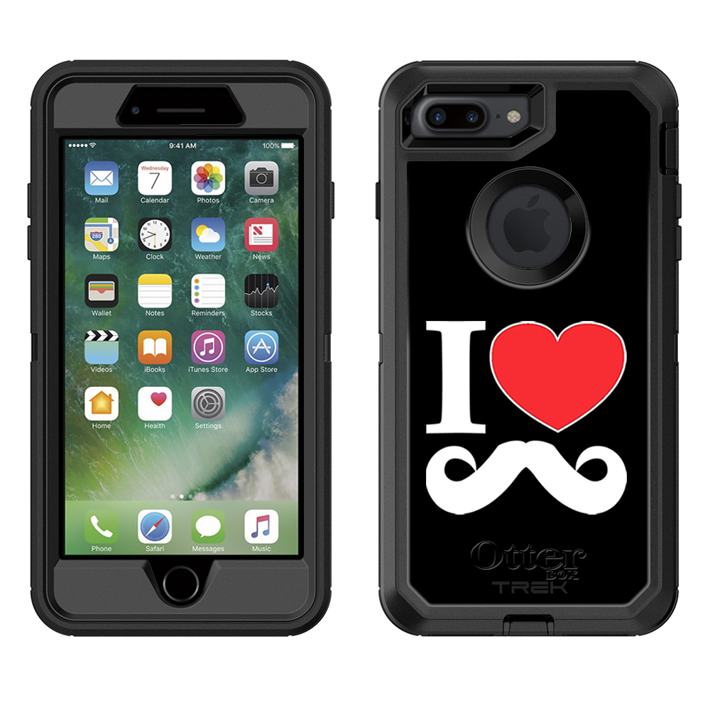 Otterbox Defender Apple iPhone 7 Plus Case - I Love Mustache on Black Apple iPhone 7 Plus OtterBox Case