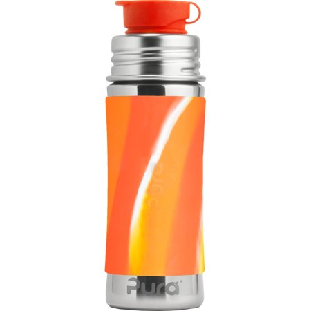 Pura 11 OZ/325 ML Stainless Steel Kids Sport Bottle with Silicone Sport Flip Cap & Sleeve, Orange Swirl (Plastic Free, Nontoxic Certified, BPA Free)