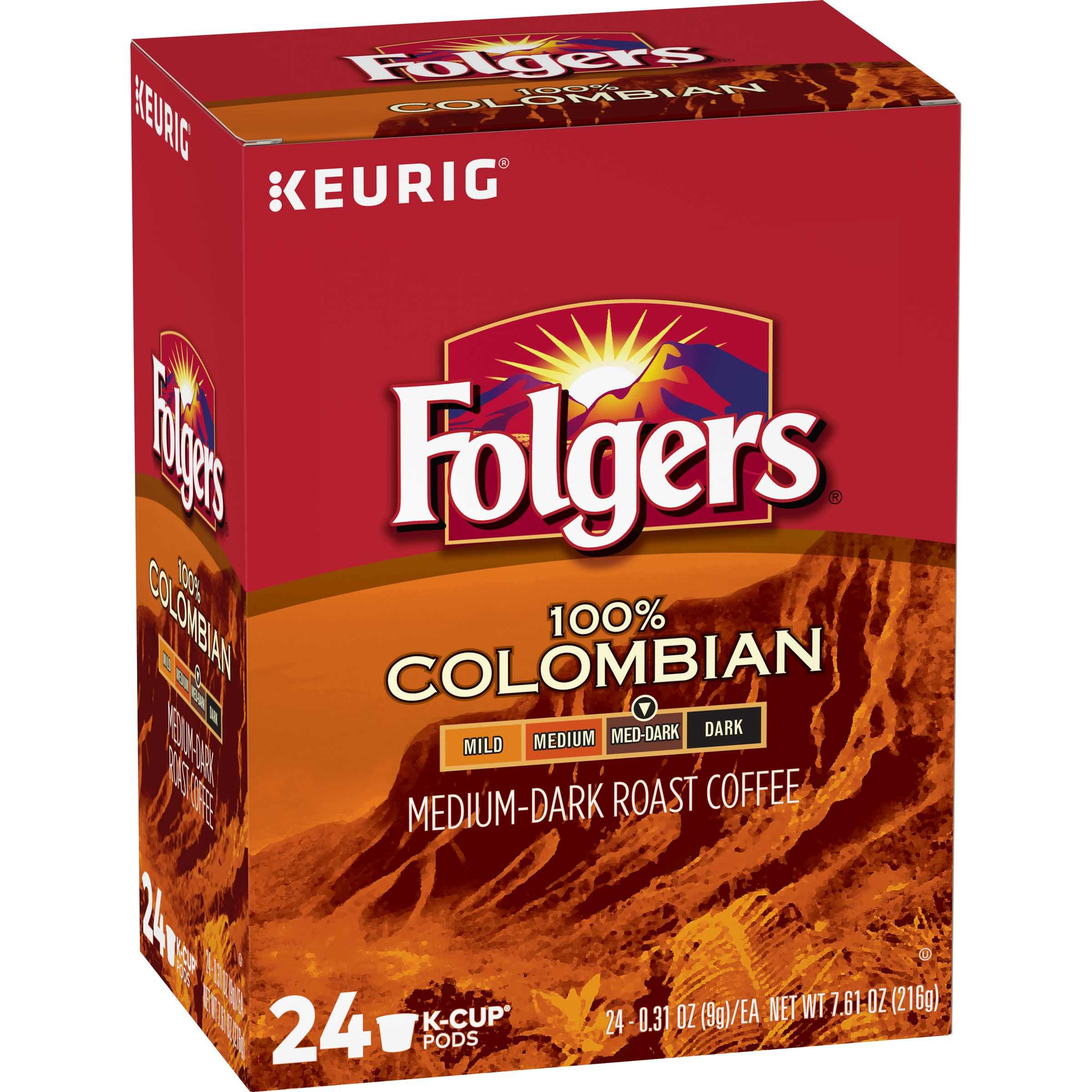 Folgers 100% Colombian, Medium Roast Coffee, K-Cup Pods, 24-Count