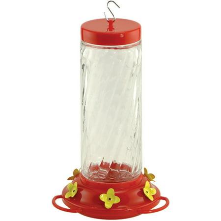 Audubon & Woodlink 991052 30 oz Feeder Hummingbird Swirl Glass, Pink & Clear