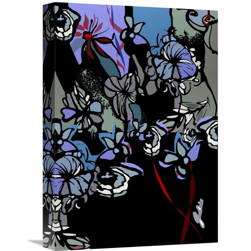East Urban Home 'Stained Glass Garden with Redribbons' Oil Painting Print on Wrapped Canvas