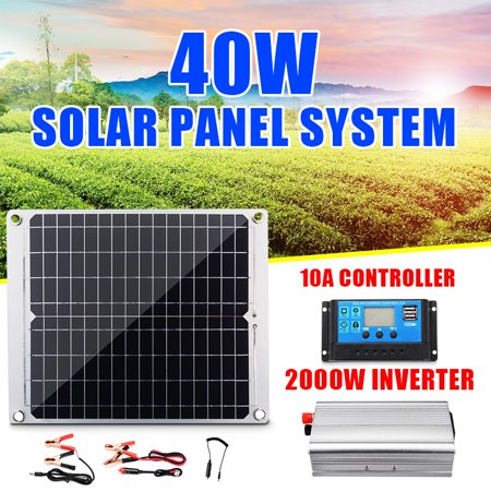Solar System Kit Efficient 40W Solar Panel 2 USB +2000W Power Inverter+10A Controller,For Home Outdoor Car RV Boat Camping Ship Motor ()