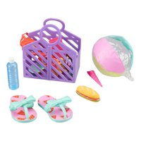My Life As Beach Tote Toy Accessories Play Set for 18-inch Dolls, 13 Pieces