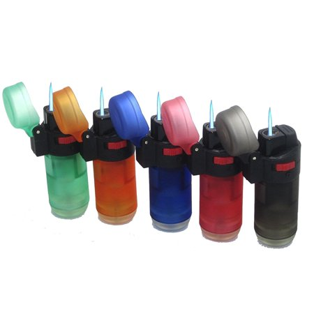 5-Pack Jet Torch Jumbo Straight Up Torch Cigar Lighter Butane Adjustable Refillable, Available in a convenient 5 pack- Colors may vary By -