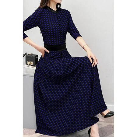 93568a6ac9 Unomatch - Women High Neck Long Skirt Plaid Dress - Walmart.com