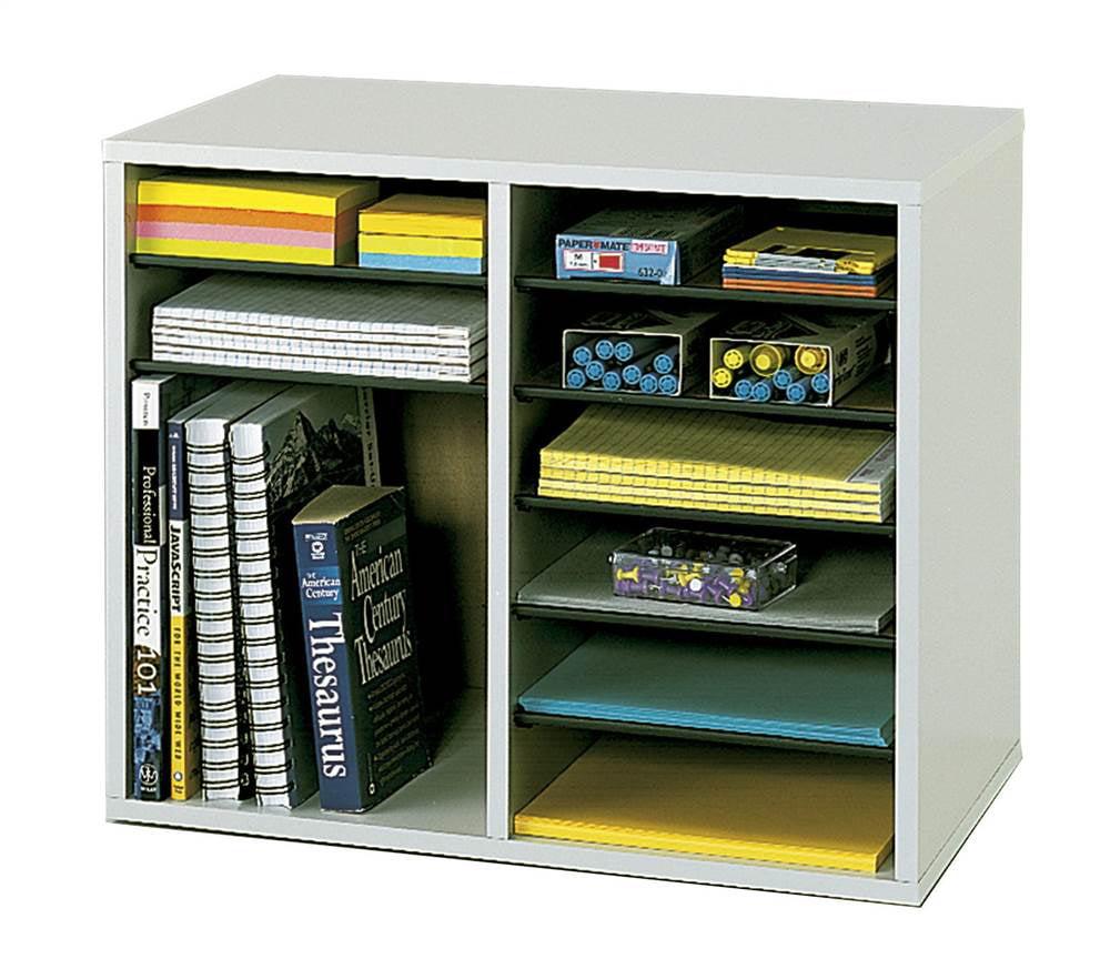 12 Compartment Adjustable Literature Organizer in Gray Finish by Safco