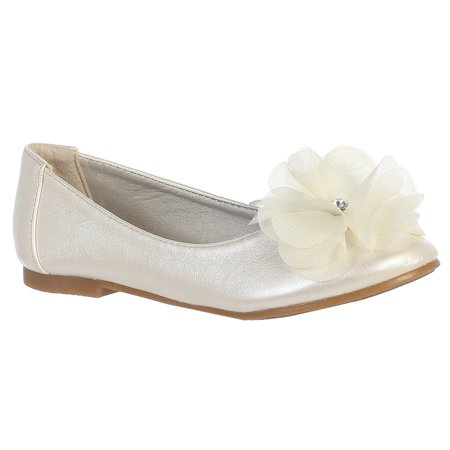 Girls Ivory Rhinestone Flower Lucy Special Occasion Dress Shoes 11-4 Kids