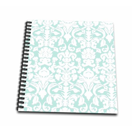 Aqua Pastel (3dRose Mint blue and white damask - fancy pastel blue green - light aqua teal turquoise - french floral - Drawing Book, 8 by 8-inch )