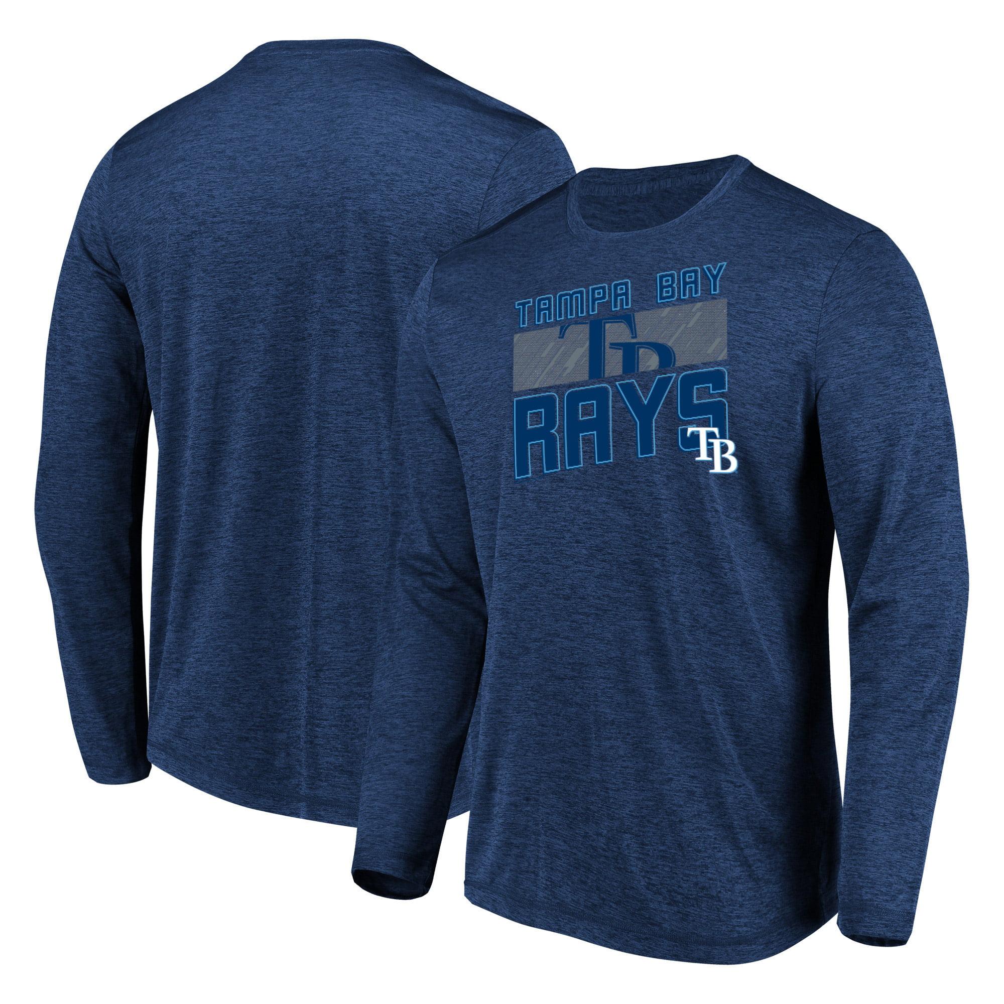 Men's Majestic Heathered Navy Tampa Bay Rays Big & Tall Long Sleeve Team T-Shirt