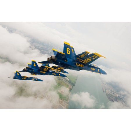 Canvas Print USA Military Aircraft Navy Blue Angels Flying Stretched Canvas 10 x 14