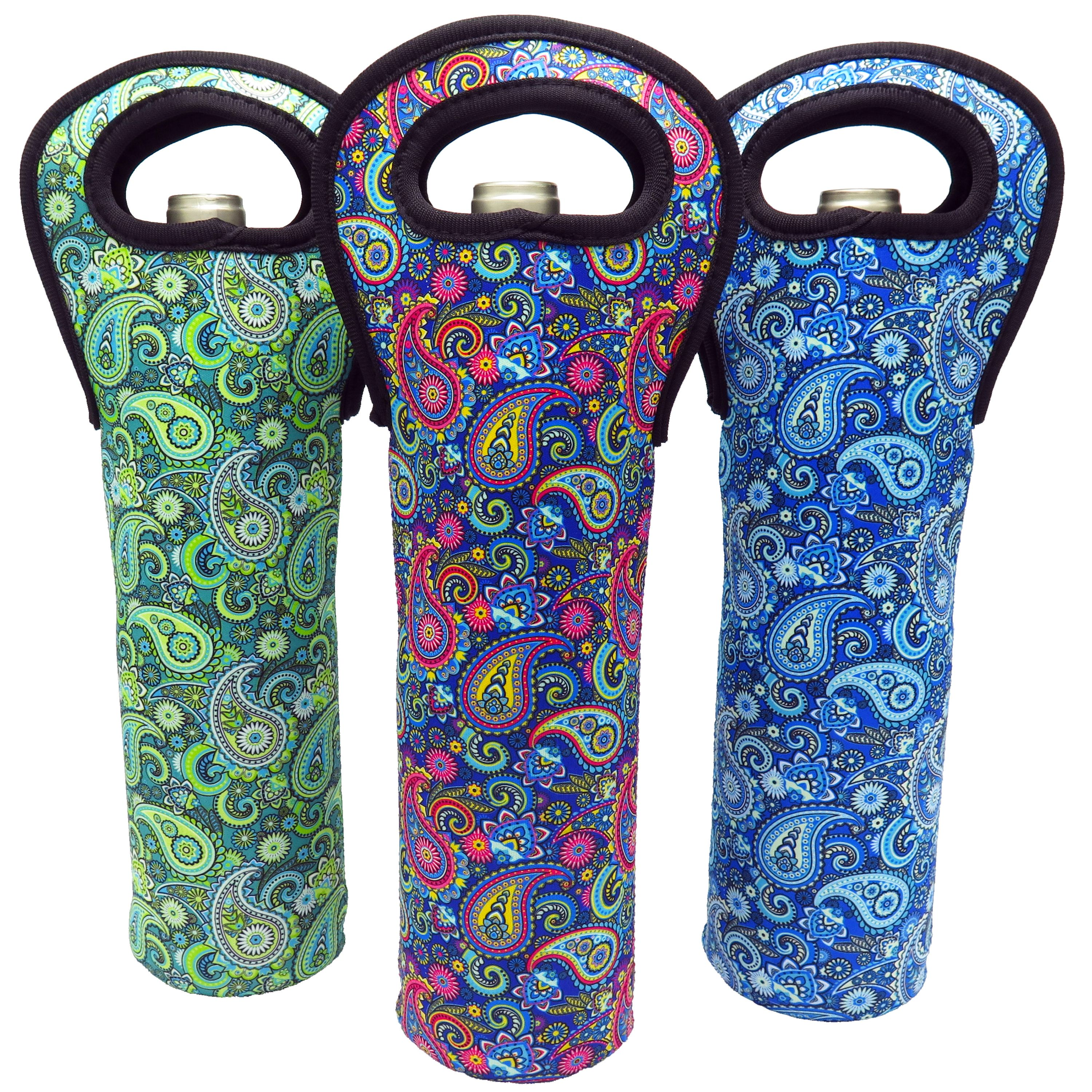 Wine Tote Carrier Bag For Champagne, Chardonnay, Water Bottles - (Paisley 3Pack)