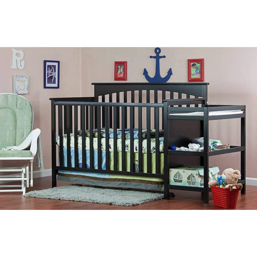 Dream On Me Chloe Dream On Me 5-in-1 Convertible Crib with Changer, Black