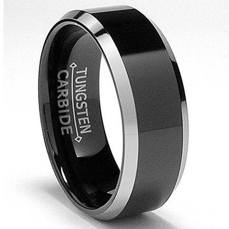 8MM Flat Top Two Tone Black Tungsten Ring Wedding Band Sizes 5 to 15