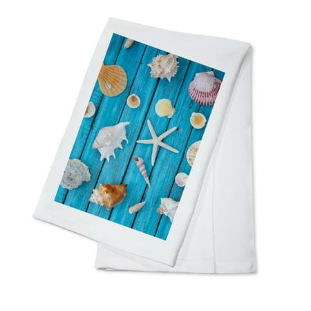 Seashells On Blue Wood   Lantern Press Photography  100  Cotton Kitchen Towel