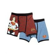 DC Comics Superman Boys Underwear, 2 Pack Vintage Stripe Boxer Briefs (Little Boys & Big Boys)