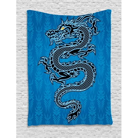 Japanese Dragon Tapestry, Black Dragon on Blue Tribal Background Year of the Dragon Themed Art, Wall Hanging for Bedroom Living Room Dorm Decor, Blue Black White, by - Dragon Hanging