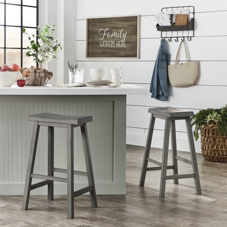 Weston Home Ashby Saddle Seat Backless Wood Bar Stools, Set of 2, Multiple
