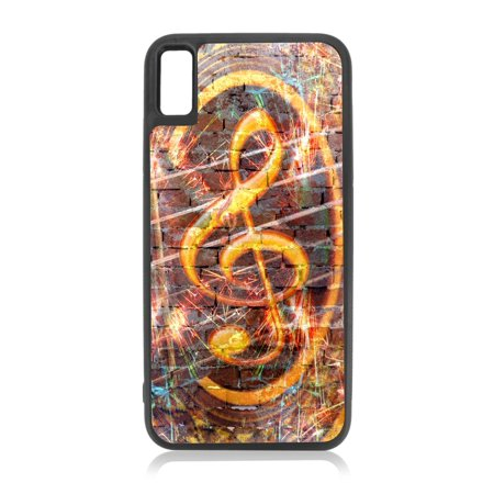 Musical Treble Clef Brick Wall Art Print Design Black TPU Rubber Case Cover for the Apple iPhone 10 / iPhone X / iPhone XS - iPhone 10 Case - iPhone X Case - iPhone XS Case