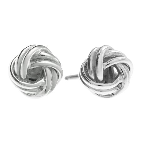 Queenberry Sterling Silver True Love Knot Ball Stud Post Earrings  10Mm