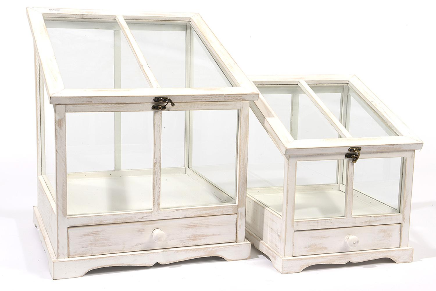 Set Of 2 Tea Garden Distressed White Wash Table Top Terrarium Greenhouses  With Storage Drawers 14