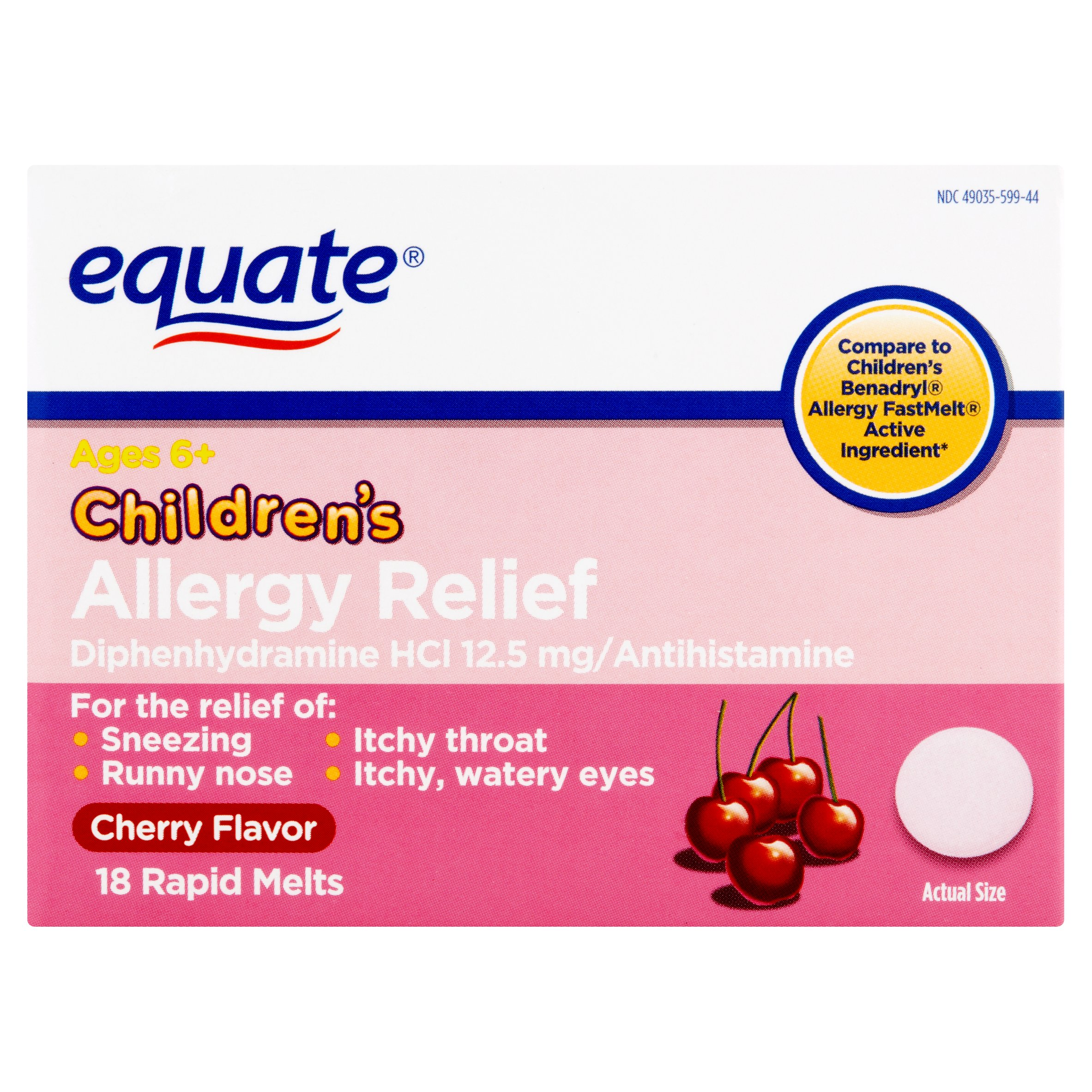 Equate Children's Allergy Relief Diphenhydramine Cherry Melts, 12.5 mg, 18 Ct