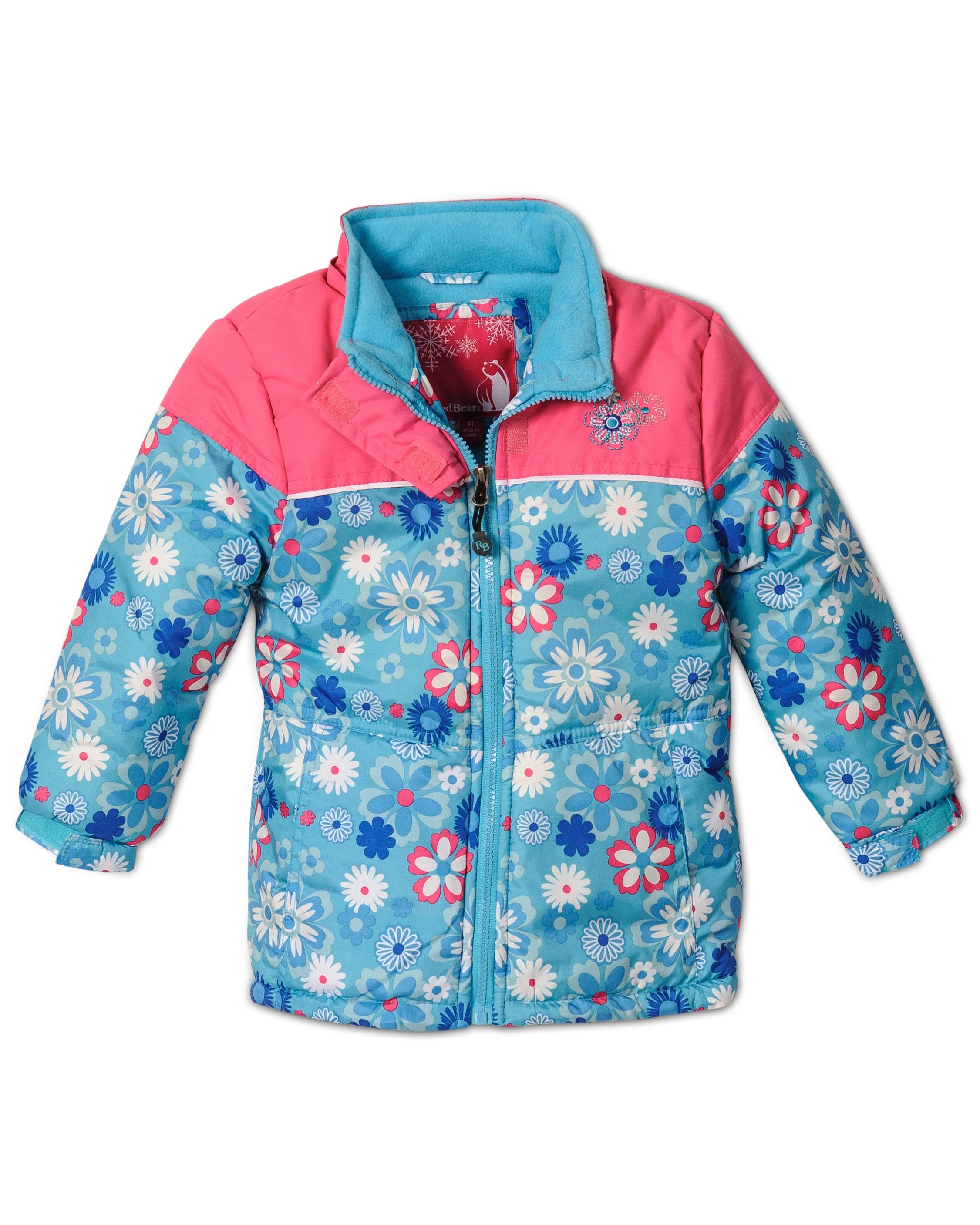 Rugged Bear Little S Fl Printed Lined Winter Hooded Jacket Coat 2t 6x Turquoise Size