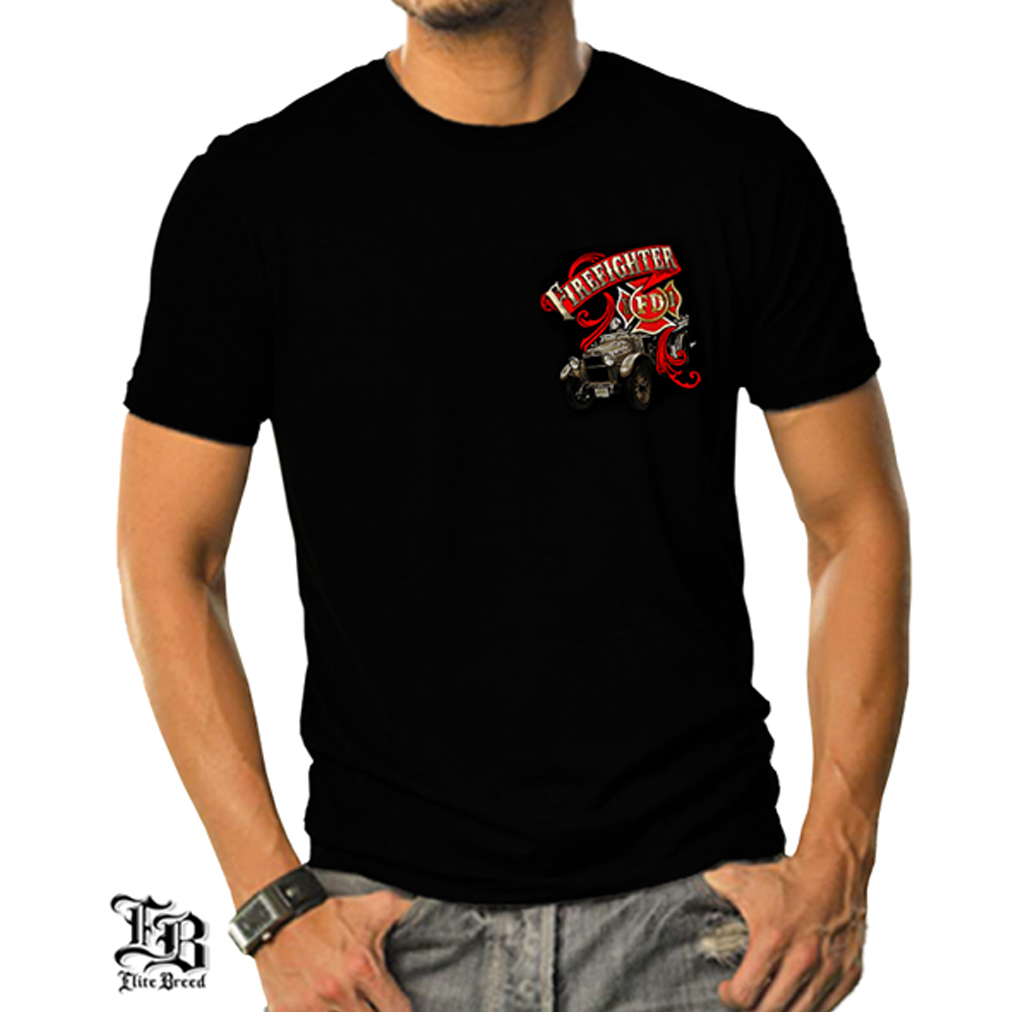 Elite Breed Antique Firefighter T-shirt by , Black
