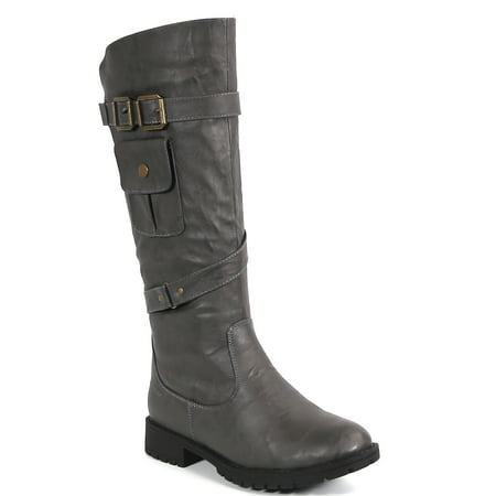 Carrini CA Collection Women's Fashion Full Zip Strappy Vegan Leather Pocket Boots