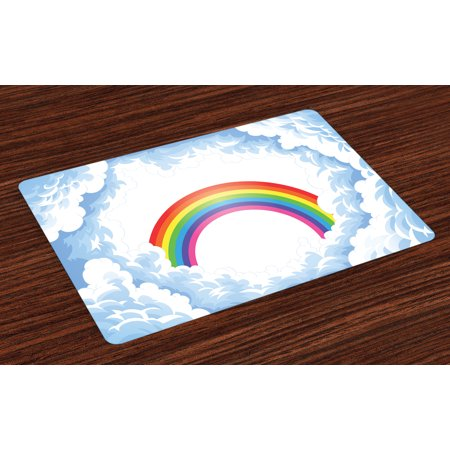 Cartoon Placemats Set of 4 Rainbow above Fluffy Cute Romantic Clouds for Kids Nursery Art, Washable Fabric Place Mats for Dining Room Kitchen Table Decor,Baby Blue White Red Yellow Pink, by Ambesonne for $<!---->
