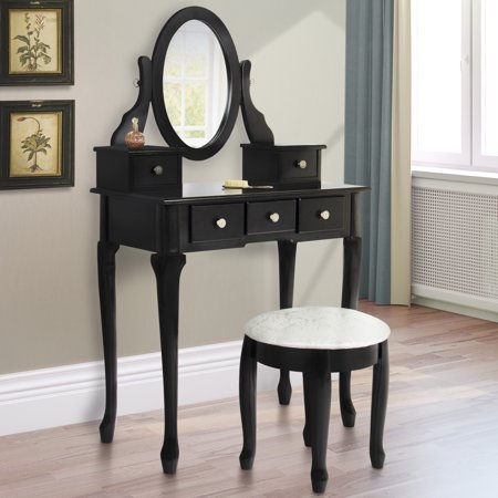 Best choice products bathroom vanity table set makeup desk for Black makeup desk