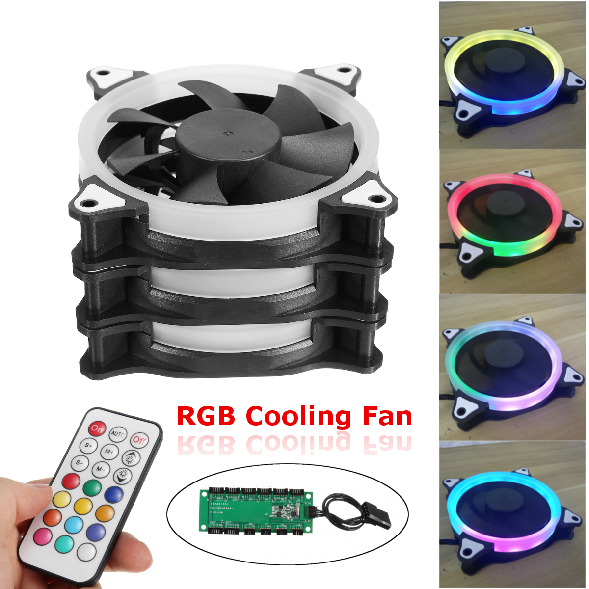 3-Pack 120mm LED Computer Case PC Cooling Fan Radiators RGB Adjustable Cooler For Computer PC Cases +Controller +IR Remote Control