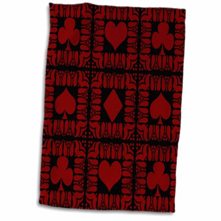 3dRose Hearts, clubs, spades, diamonds framed card pattern . Red on Black. - Towel, 15 by 22-inch