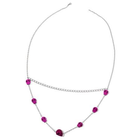 Halloween Special Purple Howlite Stainless Steel Skull Drape StatIon Necklace 32 in TGW 50 - Halloween Xm Station