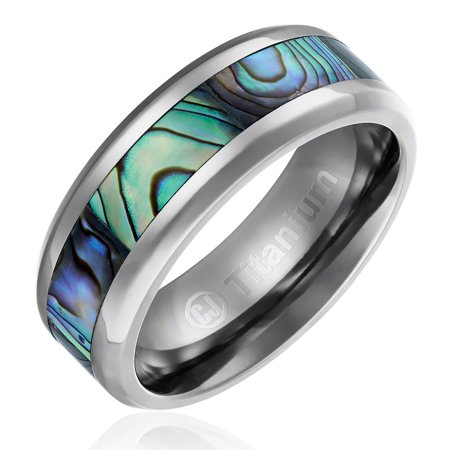 New Shell Inlay (Mens Wedding Band in Titanium 8MM Ring with Abalone Shell Inlay)