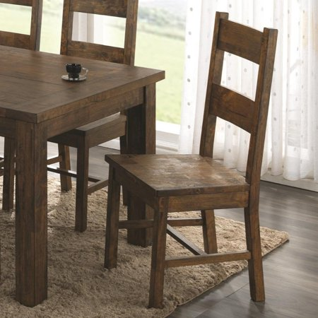 Armless Wooden Dining Side Chair, Rustic Golden Brown, Set of 2 ()
