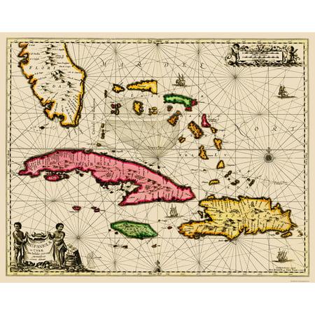 Old Caribbean Map Bahamas Cuba Jamaica Hispaniola Sea Chart 1650 23 X 28