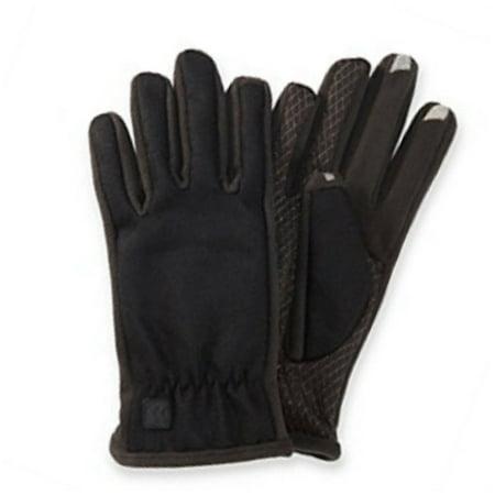Isotoner Smart Touch 2 Men Black Wool Blend Touchscreen Gloves Text Tech Ipad