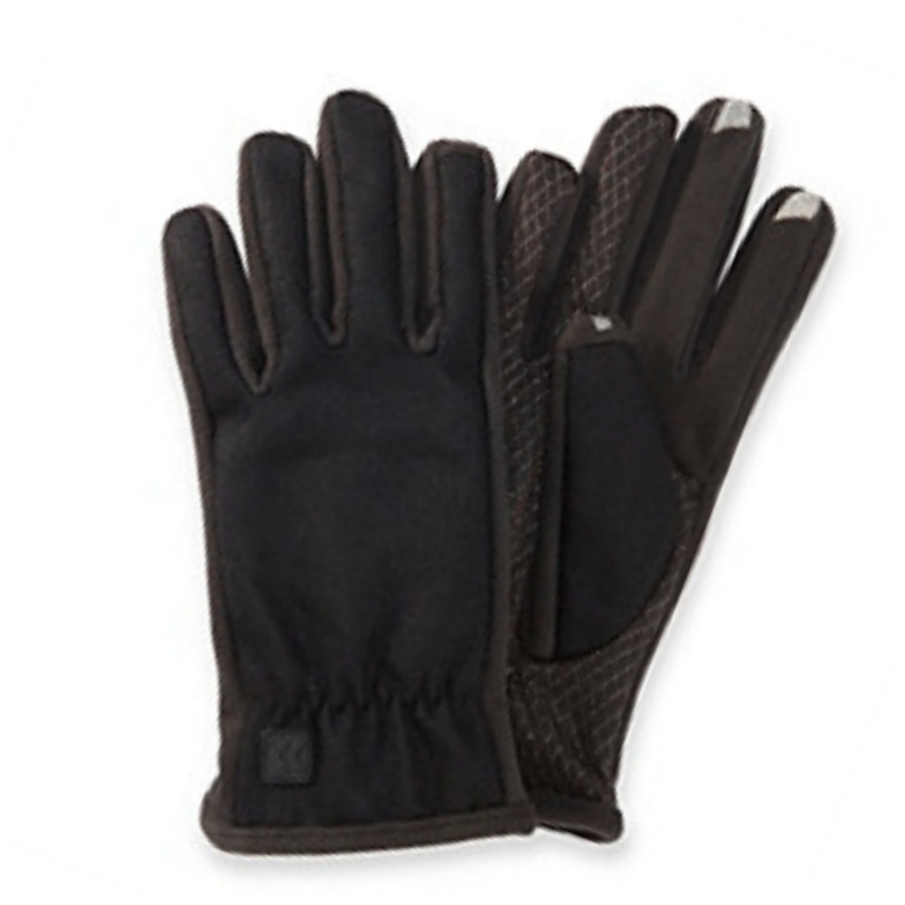 Isotoner Smart Touch 2 Men Black Wool Blend Touchscreen Gloves Text Tech Ipad